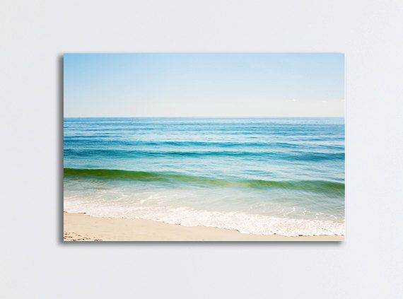 "Seascape Ocean Canvas, large beach wall art blue cream white sea gallery wrap wave photography large print nautical decor, ""Ocean of Dreams"""