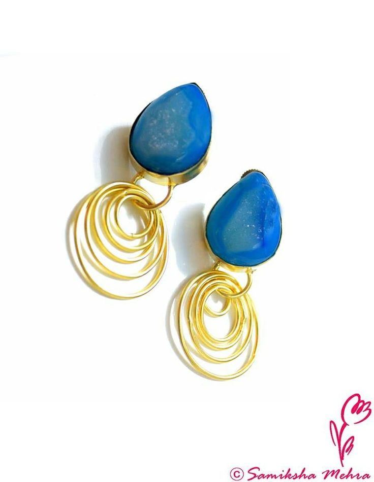 This electric #blue pair is the cool choice during soaring temperatures to add some thrill to your outfit, the grainy shimmers adding a little bit of drama to the contrasting #gold.  #Colorstones : #Agates Product Code: PBE188 #Order here: http://bit.ly/buyPnkB