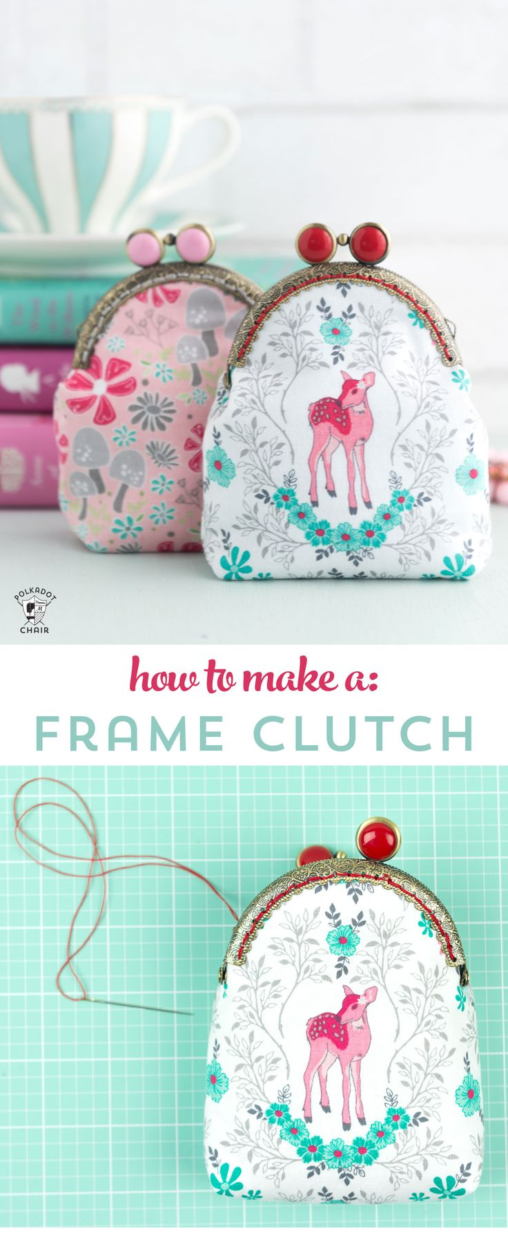 Learn how to draft a custom pattern for a frame clutch with this metal frame purse tutorial - how make a coin purse from a metal frame