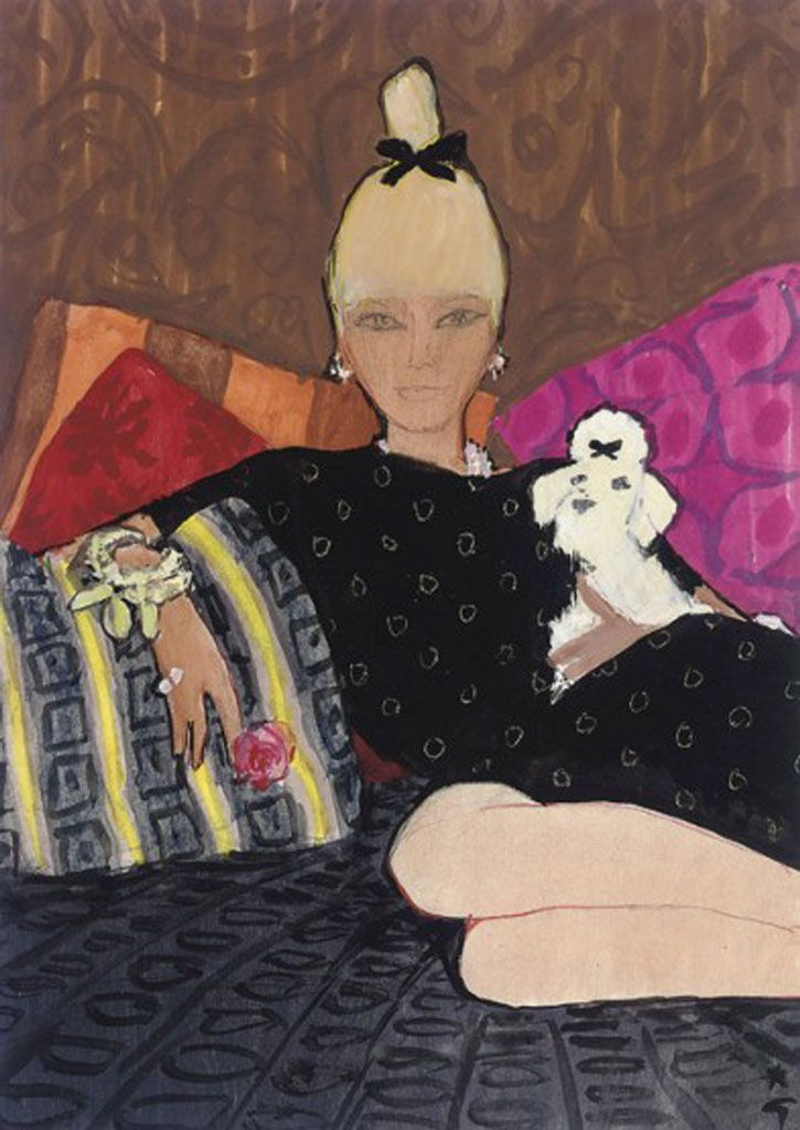 Rene Gruau, Repose, Gouache, felt pen and ink, 1964 - fashion illustrations.