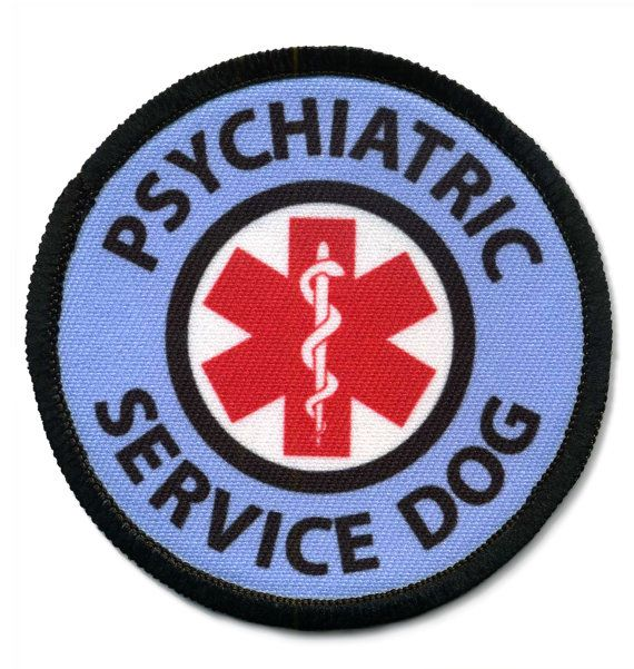 HOOK Velcro Psychiatric Service Dog Alert Warning  Round Patch Badge Choose Size and Color