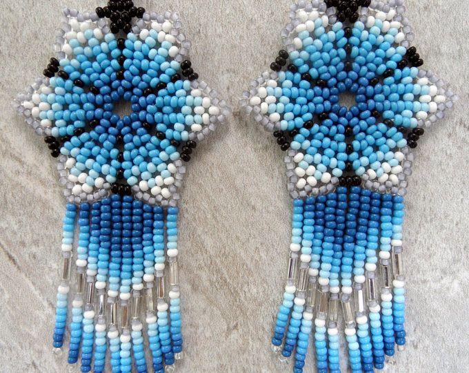 Mexicana Huichol flor pendientes turquesa azul plata blanco
