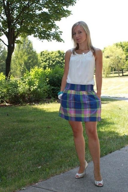 HM plaid skirt and detail collar blouse.