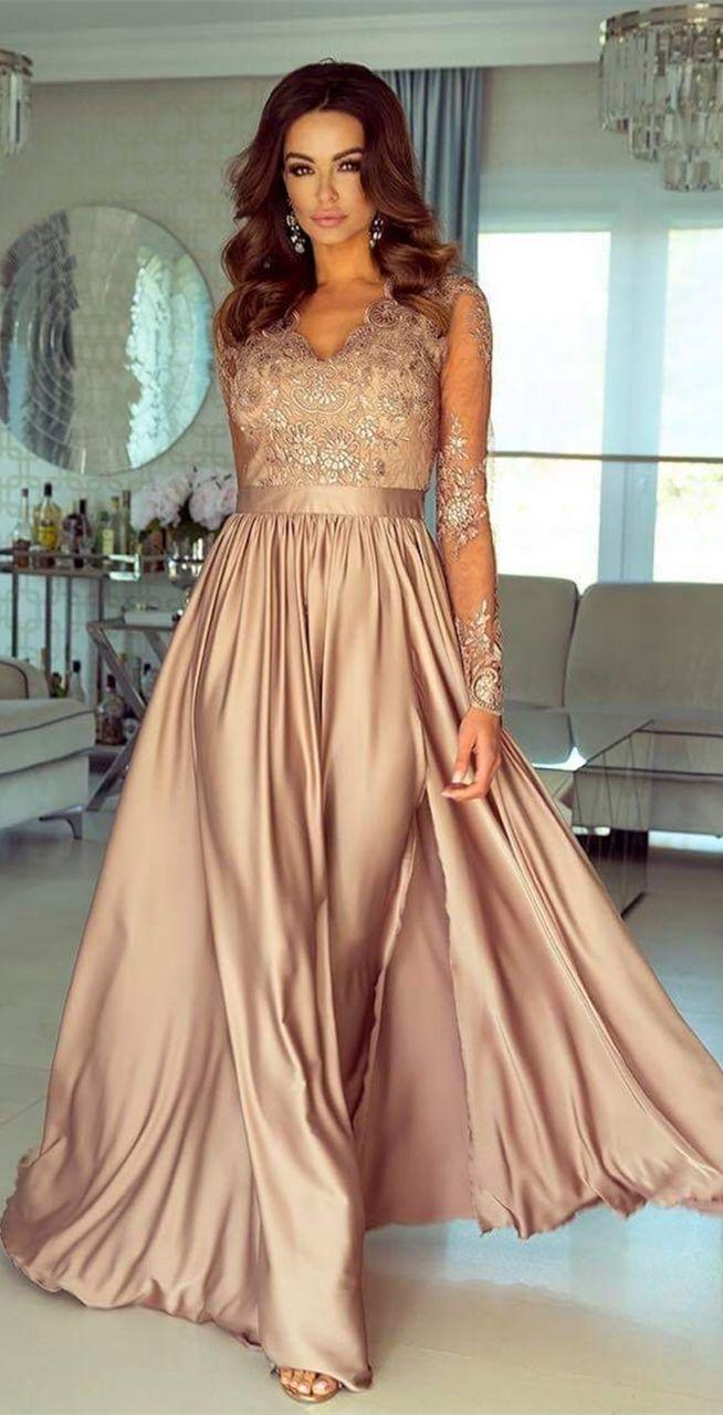 A Line V Neck Long Sleeves Floor Length Champagne Split Prom Dress With Appliques Vestidos Longos Elegantes Vestidos Longos Estampados Vestidos