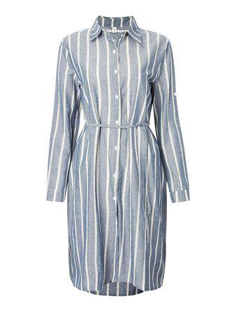 Belt Casual Slim Stripe Long Sleeve Lapel Women Shirt Dress