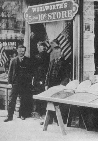 JUNE 21, 1879: Frank Woolworth opened his first successful  Woolworth's 5 and 10 Cent Store in Lancaster, PA. His first store, in Utica, NY, sold 5-cent items only and closed after 2 months. image: F. W. Woolworth - North Queen Street, Lancaster - the firm's first successful store