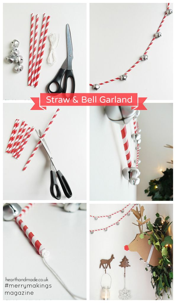 DIY Straw Jingle Bell Garland
