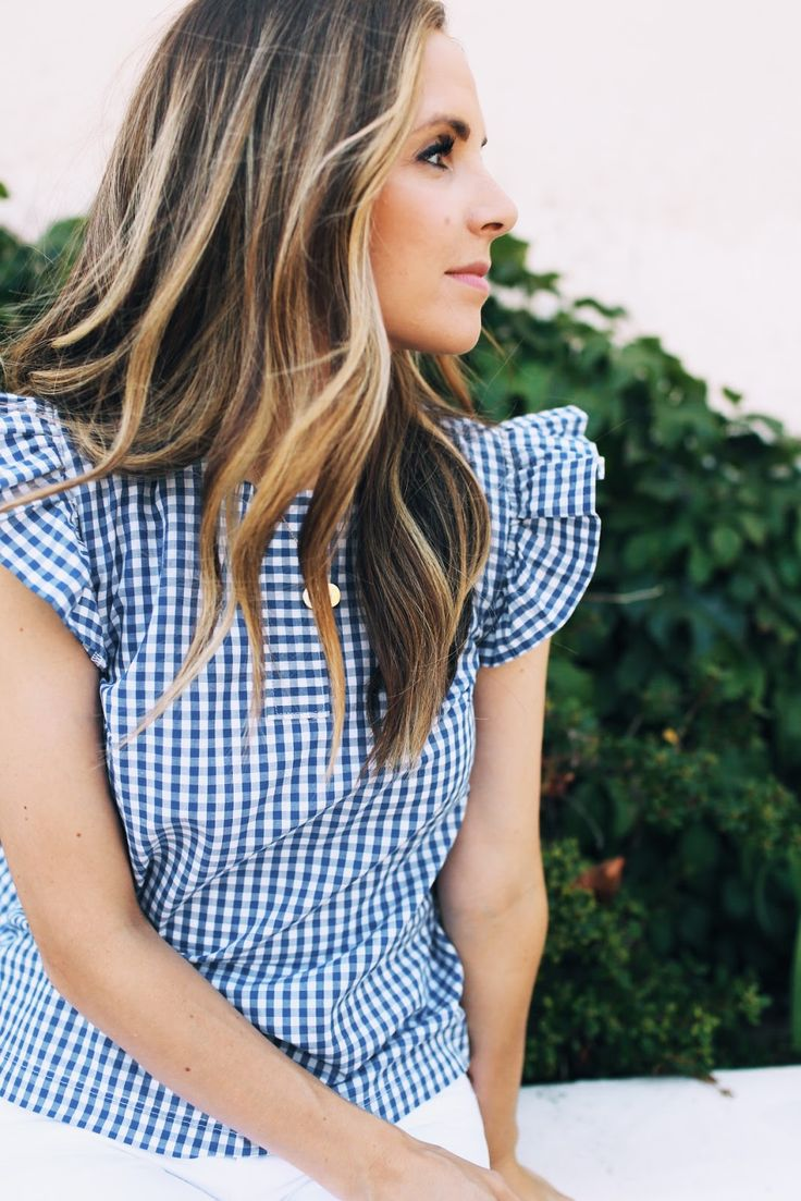 Gingham is my favorite summer print, and I'm so in love with the flutter sleeve trend, so I combined the two for this we...