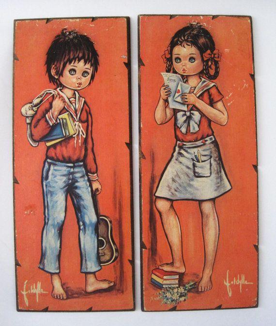 Retro Big Eyed Girl and Boy Prints by rhanvintage on Etsy, $40.00Prints Idyl, Boys Prints, Retro Big, Eye Girls, Eye Babes, Big Eye, Eye Art, Etsy Shops, Vintage Big