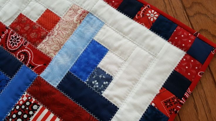 Handmade Quilted Table Mat in Bright and Bold Red, White and  Blues, Log Cabin Pattern