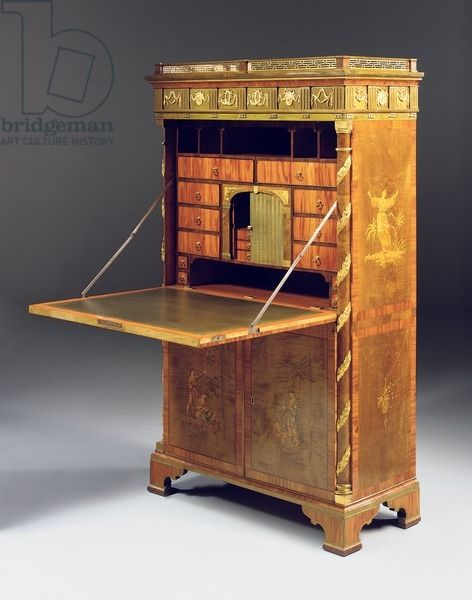 Neoclassic secretaire a abattant, c.1775 (ormolu mounted sycamore, burr yew, stained tulipwood & marquetry) creator Roentgen, David (1743-1807)