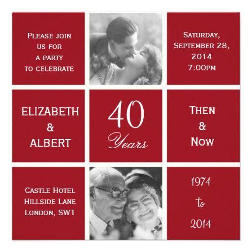 Modern Squares 40 Years Ruby Wedding Anniversary