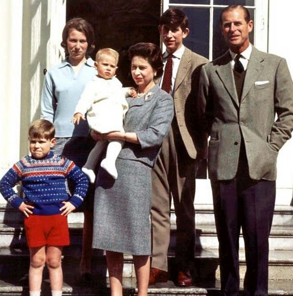 21 April 1965: The Queen stands with her family (from left) Prince Andrew, Princess Anne, Prince Edward, the Prince of Wales and the Duke of Edinburgh, on the Queen's 39th birthday
