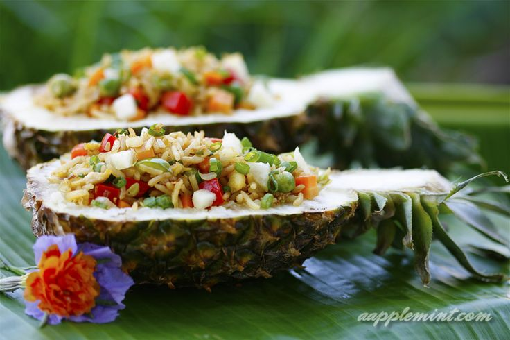Dips (preferably tropical) placed in Pineapple bowls. Perfect for that hawaiin themed party we all want to attend