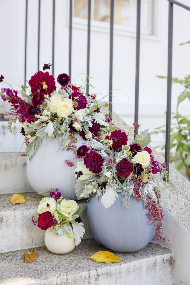 Dusty Blue and Cranberry Fall Decor - looks so pretty as entry decoration
