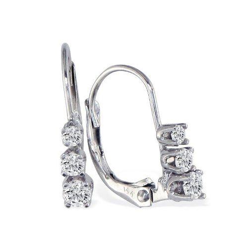 14k White Gold 1 2ct Three Diamond Leverback Earrings