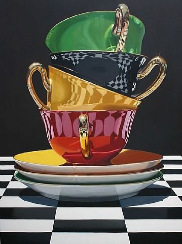 artnet Galleries: Towering Teacups by Daryl Gortner from Skidmore Contemporary Art
