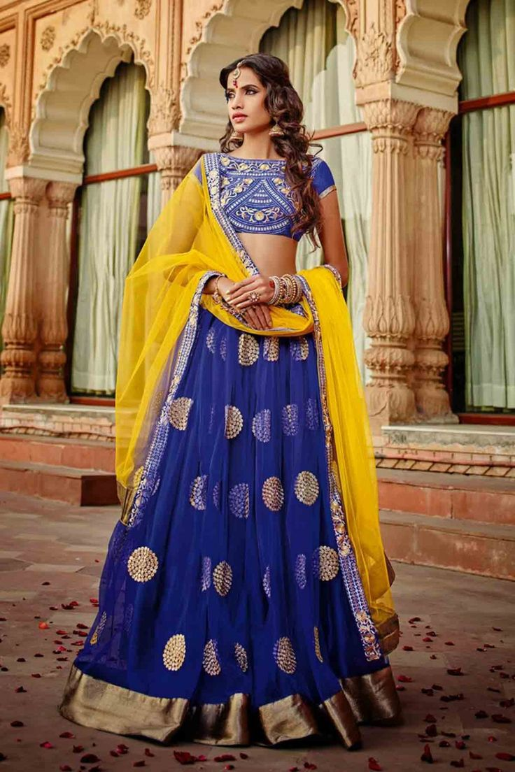 Blue Net Lehenga Choli with Embroidered and Lace Work