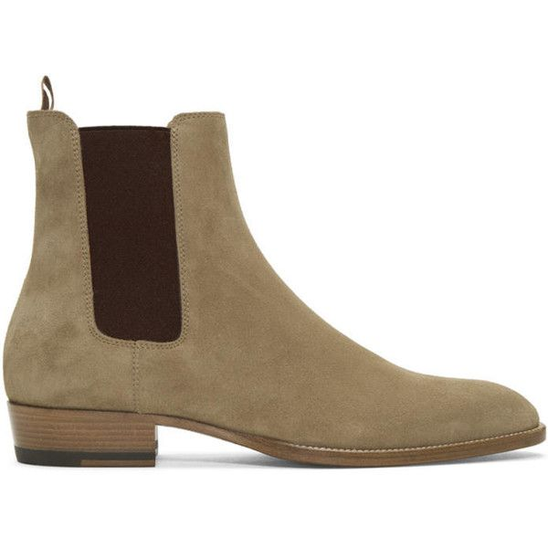 Saint Laurent Tan Suede Wyatt Chelsea Boots (19,095 THB) ❤ liked on Polyvore featuring men's fashion, men's shoes, men's boots, male clothes, tan, mens tan shoes, mens suede shoes, mens suede chelsea boots, mens cuban heel chelsea boots and mens tan suede chelsea boots