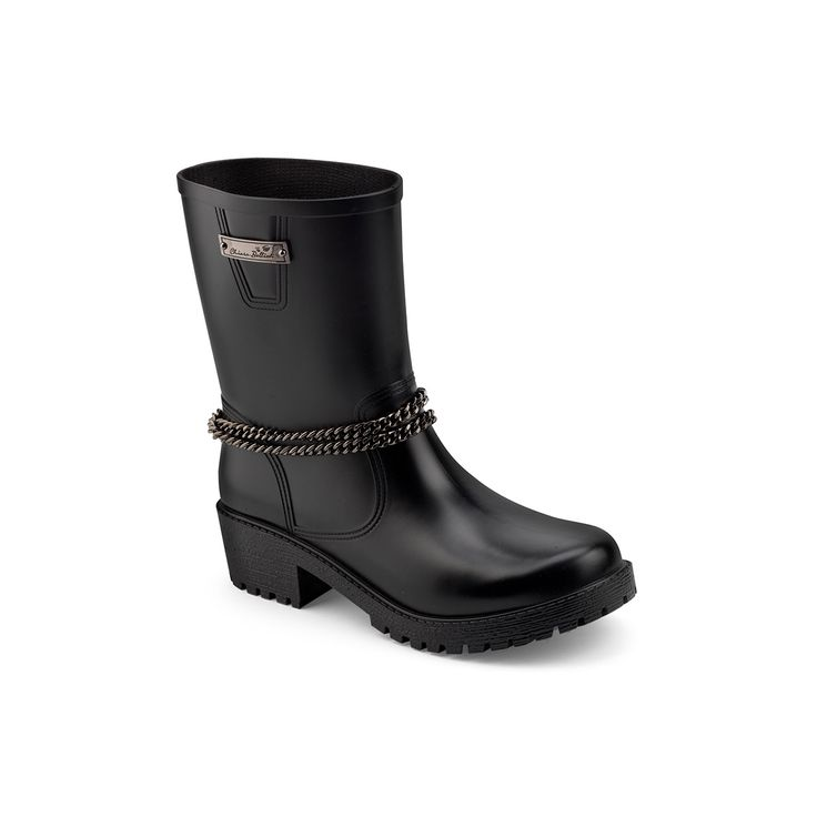 Biker boot in mat PVC with chain and rubber plate