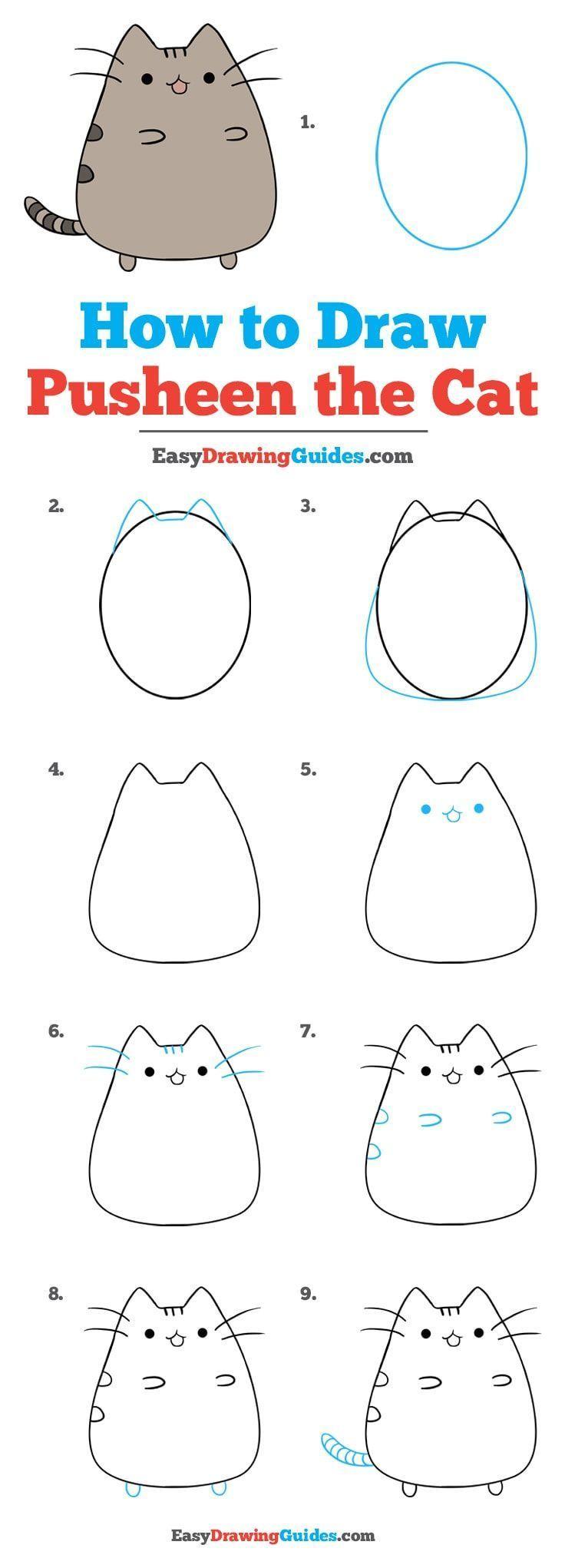 Wie zeichnet man Pusheen the Cat – Einfaches Zeich…