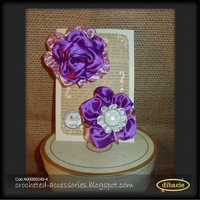 2 silk ribbon rose brooches