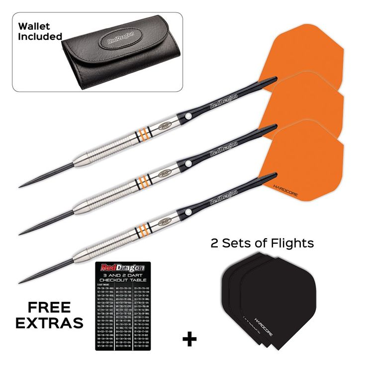 Red Dragon Amberjack 12: 22g - 90% Tungsten Steel Darts with Flights, Shafts, Wallet & FREE Red Dragon Checkout Card