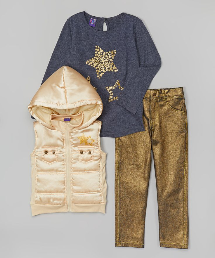 Ivory Satin Hooded Vest Set - Infant, Toddler & Girls | zulily