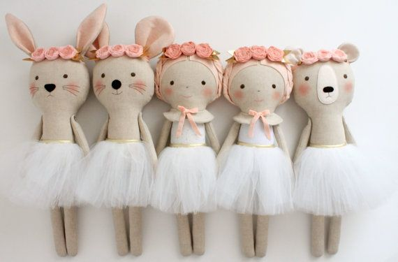 This listing is reserved for Jasmine. Please do not purchase it if youre not her. Thanks! ♥ This listing is for one ballerina doll (white leotard with gold dots) and one bear doll. They are made with a cotton linen blend fabric, wool blend felt and gold details. They both have white tule skirts. ♥ They measure approx. 18 inches (46 cm). READY TO SHIP All dolls are shipped via registered mail (tracking + signature)