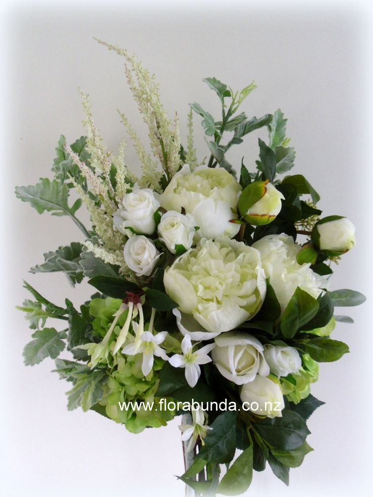 Garden natural bouquet in greens and whites - all artificial flowers and foliage from www.florabunda.co.nz