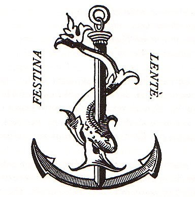Festina lente dolphin and anchor. Done in a scrimshaw style--book lover tattoo idea.