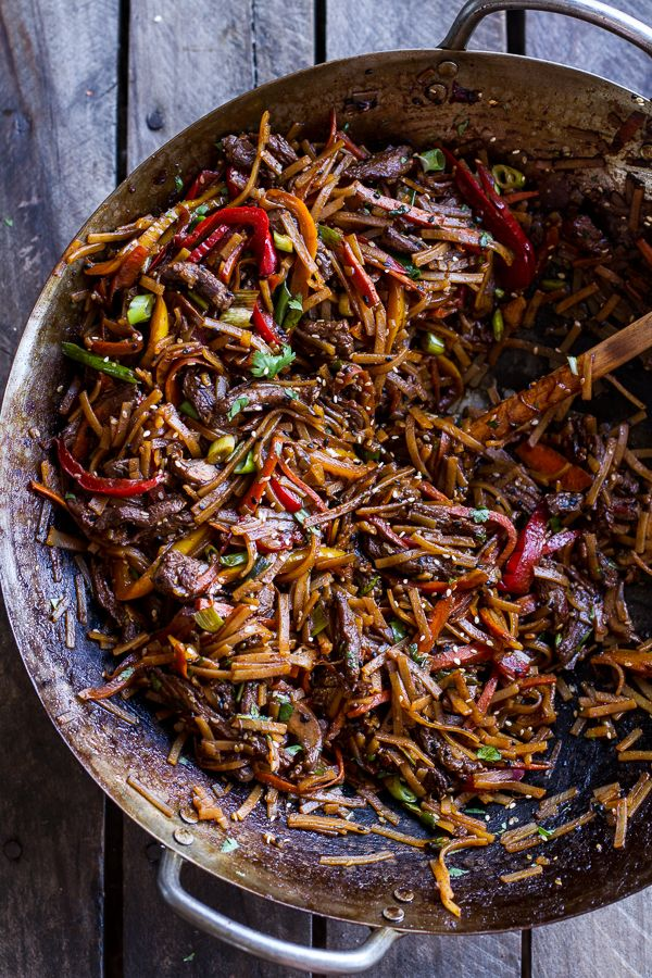 Stir Fried Korean Beef and Toasted Sesame Noodles.