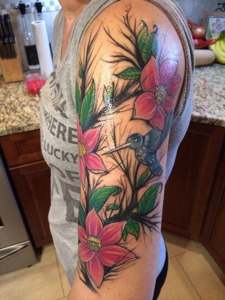 flowers  hummingbird tattoo arm tattoos tattoos
