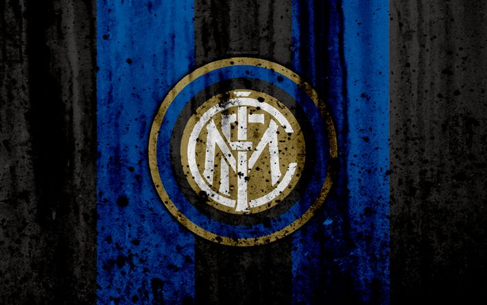 Download wallpapers FC Inter Milan, 4k, logo, Internazionale, Serie A, stone texture, Inter Milan, grunge, soccer, football club, Inter Milan FC