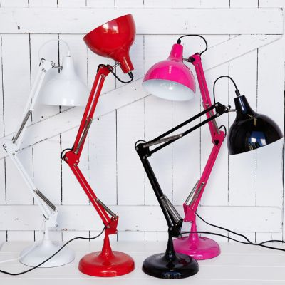 Sly Desk Lamps Want a red one for Play room and an Orange one for Sam's bedroom $96.00  Has a solid weighted base thus preventing tipping over. 75 cm tall can be adjusted to varying heights and angles  Our Price includes assembly Available in New Orange ,Yellow, Red, Black and White  We assemble all lamps picked up from Sirocco Willoughby or Belrose