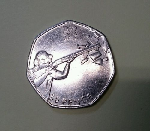 London 2012 olympics shooting 50p coin. #circulated 2011. #excellent #condition,  View more on the LINK: 	http://www.zeppy.io/product/gb/2/262709197782/