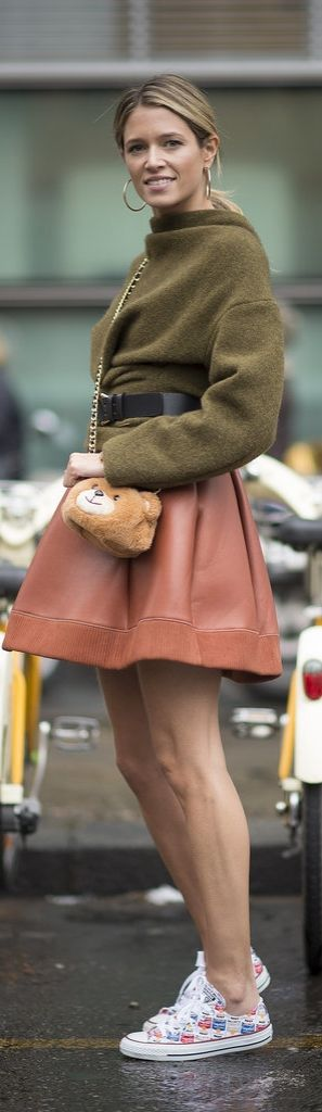 Milan Fashion Week street style: Helena Bordon in a leather skirt and converse