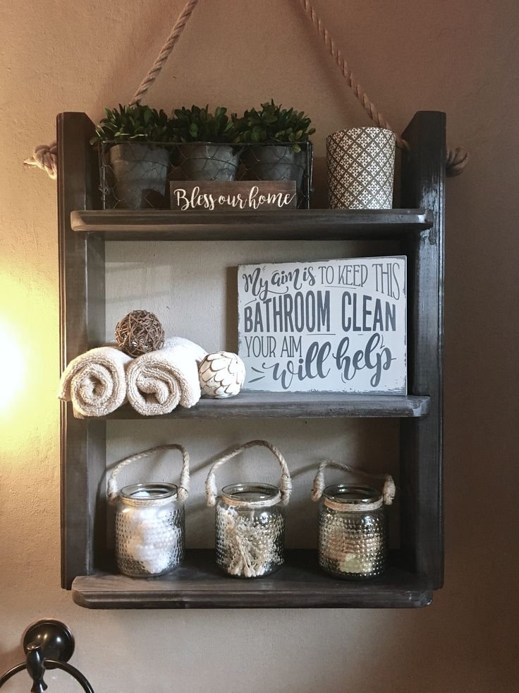 My dad made this for me! Farmhouse rustic bathroom hanging