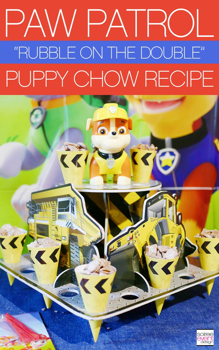 Paw Patrol Party Snacks!  Paw Patrol Puppy Chow! | Paw Patrol Party Ideas Your Kids Will LOVE! | http://soiree-eventdesign.com
