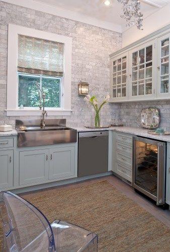 grey, blue, white kitchen