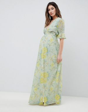 2e7af20447d5b Hope & Ivy Maternity Floral Printed Maxi Dress With Thigh Split ...