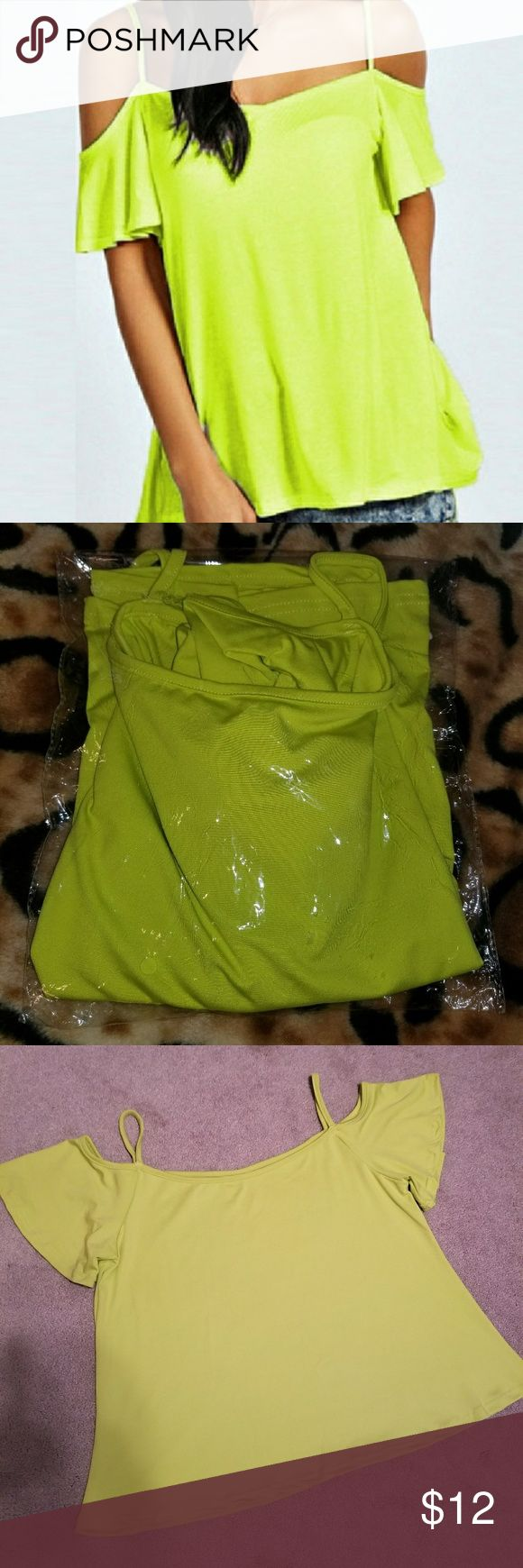 NWT Neon Cold Shoulder Brand new never worn, ordered online. Neon yellow green cold shoulder short sleeve blouse. Size Medium. Pictures with and without flash. True to color  Smoke free home Ships same day or next day Free People Tops Blouses