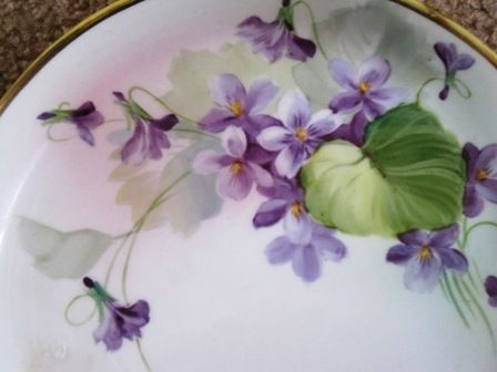 Hand Painted Nippon cake plate decorated with violets from nightingaleantiques on Ruby Lane