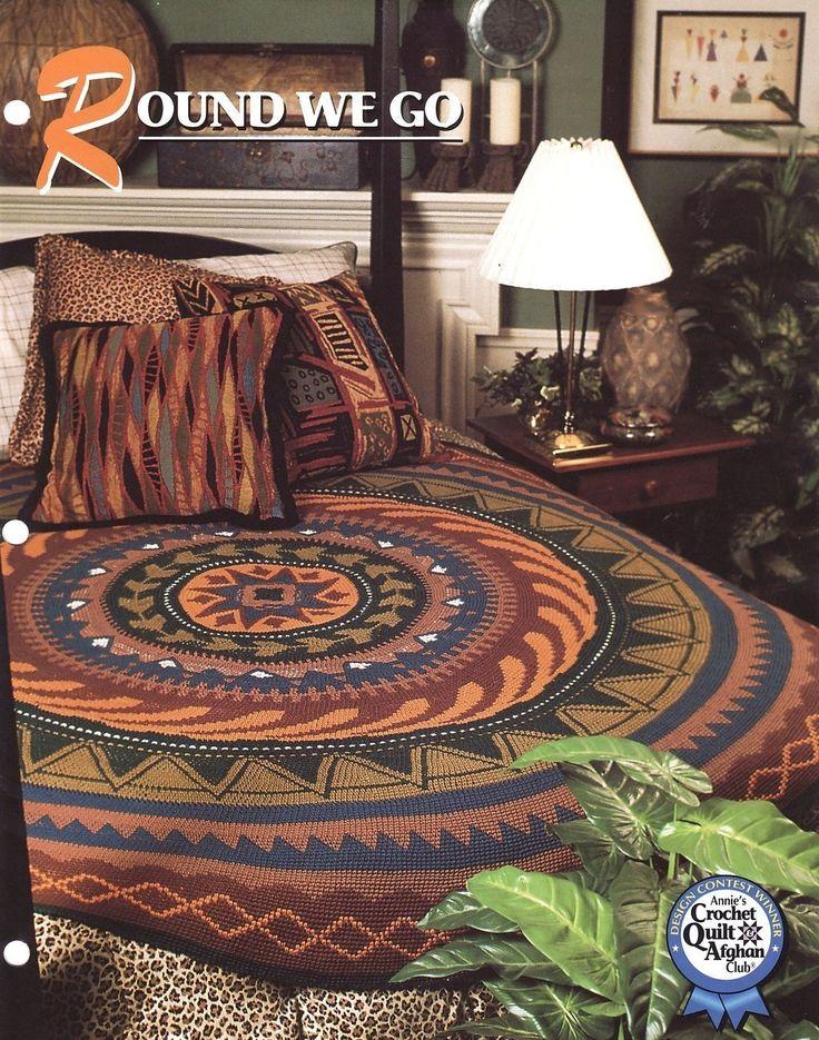 Round We Go Crochet Afghan Pattern Annies Crochet Quilt  Afghan Club Blanket Rug