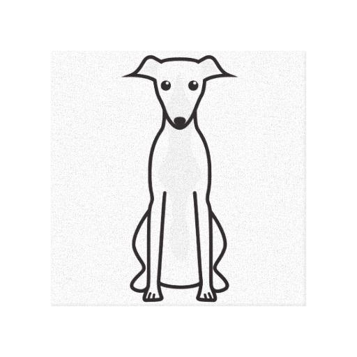Whippet Dog Cartoon Canvas Print Cartoon Canvas Prints