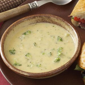 Cheddar Broccoli Soup Recipe -Frozen broccoli speeds preparation of this warm and satisfying soup. —Louise Beatty, Amherst, New York