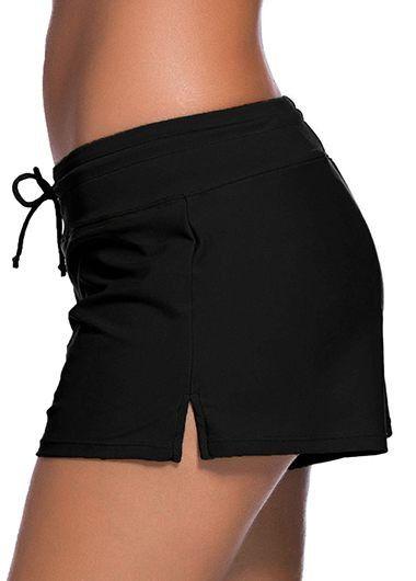 7392645a8c1 Drawstring Waist Solid Black Swimwear Shorts   modlily.com - USD $22.18