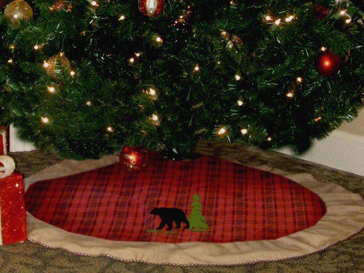 red plaid tree skirt with bear rusticchristmas rustic christmaschristmas - Rustic Christmas Tree Skirt
