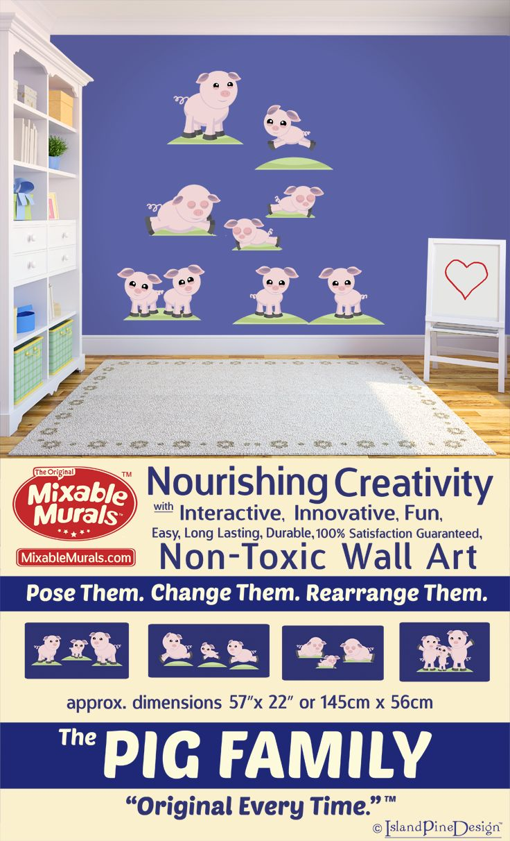 Need mural ideas for your kids bedroom or playroom? Why paint when you can decorate again and again without continuous shopping and inspire creativity in your kids at the same time. -100% Satisfaction Guaranteed -Durable -Non Toxic -Long Lasting -High Quality Materials -No Mess-No Residue -Easy To Use -No Tools Required -Tear Resistant -Stretch Resistant -Wrinkle Resistant -Boredom Resistant -Always Original. Create with your kids. Again and again. www.mixablemurals.com