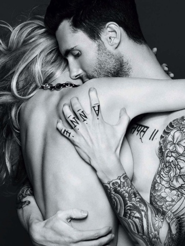 Adam Levine.......and girlfriend (I WANT A SHOT LIKE THIS WITH MY HUNNY)